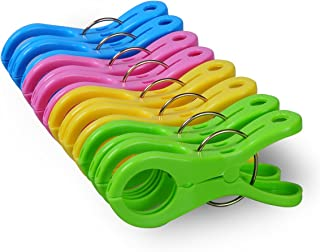 ECROCY 8 Pack Double Thickness Jumbo Size Beach Towel Clips for Beach Chairs Or Lounge Chair - Keep Your Towel from Blowing Away,Clothes Lines & Keep Your Clothes Hangers from Blowing Away