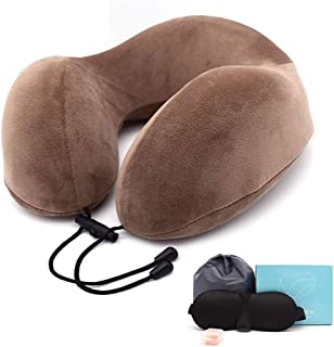 U Shaped Travel Neck Pillow Memory Foam Neck Pillows, Soft Slow Rebound Space Solid Neck Cervical Healthcare,with Earbuds & Eye Mask (Color : Brown)