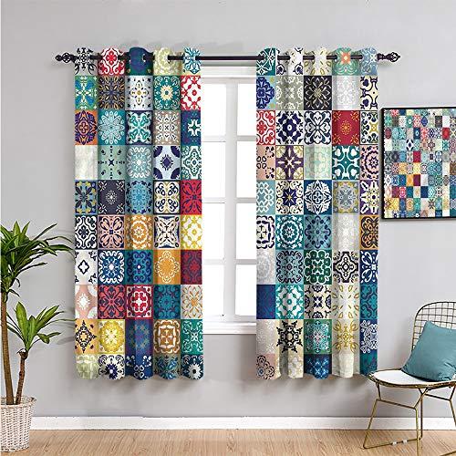 Cortinas opacas de patchwork de 213,4 cm de largo con motivos culturales españoles cortina de baño 228 cm de ancho x 214 cm de largo