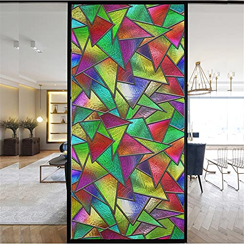 SevenLeo Privacy Window Film Self Adhesive Door Stickers Glass Sticker Acy Window Film for Office Bathroom Home No Glue Static Cling Stickers Multicolored Glass ,50x200cm