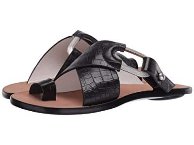 rag & bone August Slide (Black Croco) Women
