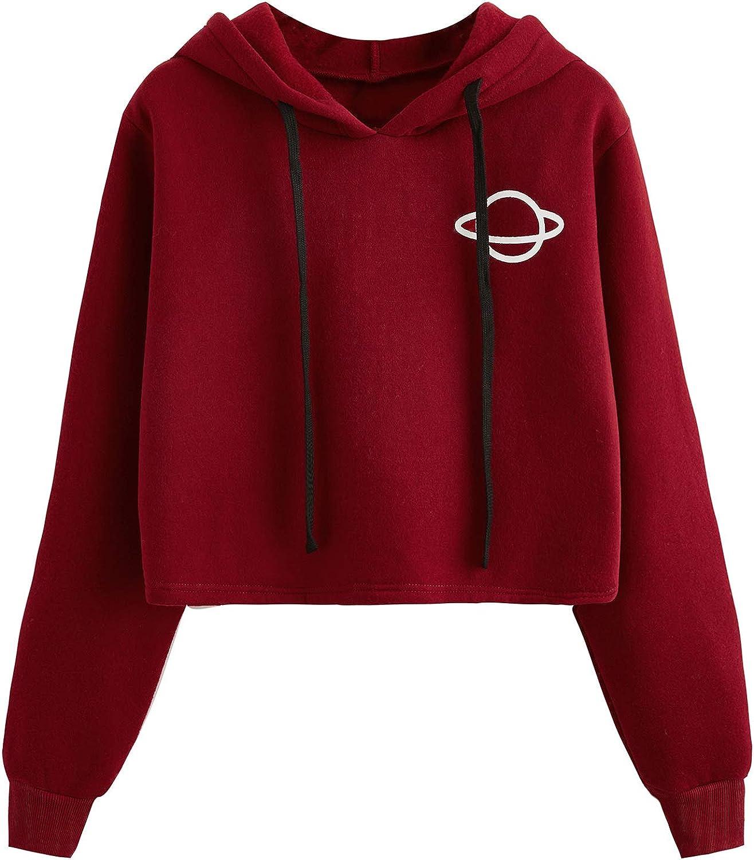 MAKEMECHIC Women's Graphic Print Drawstring Casual Thick Hoodie Sweatshirt