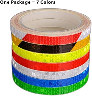GLE Reflective Tape 7 Roll Safety Tapes Warning Strip Self-Adhesive DIY Decoration Bicycle Wheel Rim Light Reflective Stickers Reflective Wheel Tape Decal Sticker for Bike, Car, Truck, Motorcycle-8M