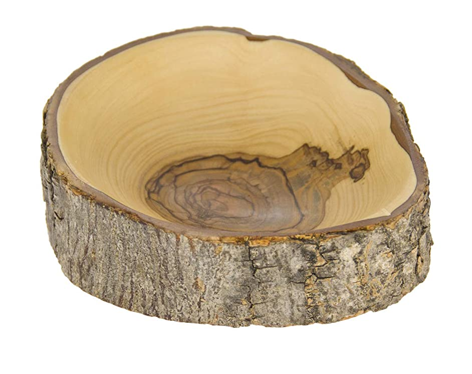 From The Earth - Olive Wood Natural Bark Bowl - Round - Fair Trade & Handmade