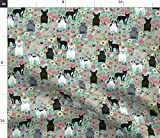 Spoonflower Fabric - Frenchie Florals Cute French Bulldogs Best Pet Bulldog Frenchies Printed on Petal Signature Cotton Fabric by The Yard - Sewing Quilting Apparel Crafts Decor