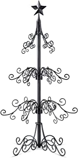 36 inch Metal Scroll Christmas Ornament Display Trees in Black & Gold Colors (Black)