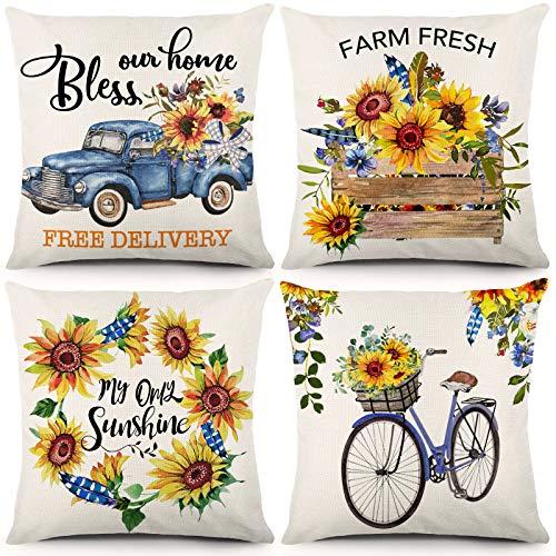CDWERD Juego de 4 fundas de almohada con diseño de girasol, 45,7 x 45,7 cm, para decoración del hogar, color azul y naranja