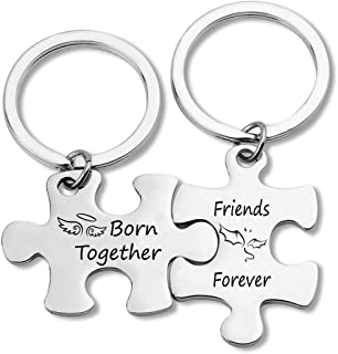 G-Ahora Puzzle Friends Keychain Set of Two Born Together Friends Forever Gifts for Sister Brother Twin Best Friends Jewelr...