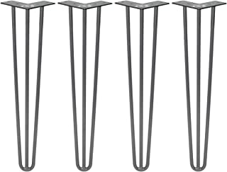 ZEKOO 4 PCS DIY Hairpin Breakfast Grey Coffee Bar Worktop Wood Metal Table Support Table Kitchen Leg Square Round (Grey 28 inches 3-Rod)
