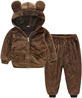 Winter Kids Outfits,Fineser Kids Baby Girl Boy Solid 3D Bear Ears Velvet Zipper Pockets Hooded Warm Coat Tops+Pants Set