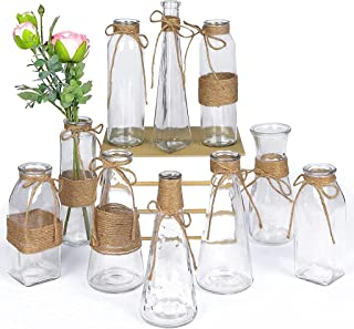 MDLUU Glass Flower Bud Vase, Glass Bottle with Rope Net, Different Shapes for Wedding Centerpiece, Party, Home Decor, Set ...