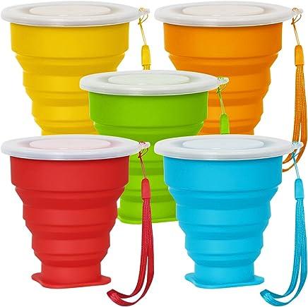 Preisvergleich für 5 Pack Faltbarer Reisebecher mit Deckel, 6Oz Silikon Faltbarer Trinkbecher, SENHAI BPA frei einziehbar zum Wandern Camping Picknick - Blau, Grün, Gelb, Orange, Rot