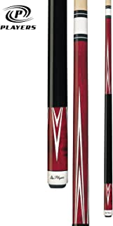 Players C-801 Classic Crimson Birds-Eye Maple with White Outline Points Cue