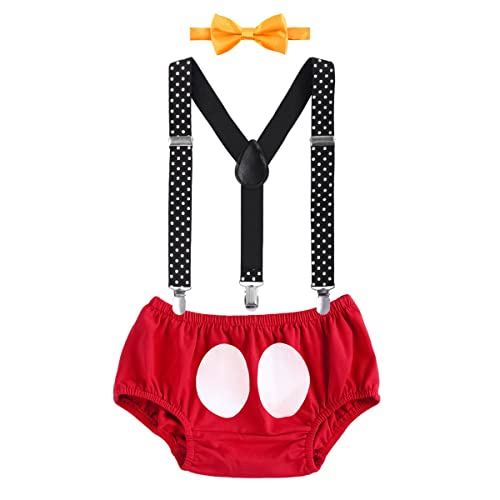 Cake Smash Mickey Outfit Baby Boy First Birthday Party Bottoms Bowtie Y Back Suspenders Photography