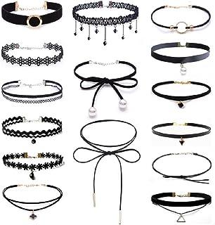 Set di collane a girocollo per donna, stile gotico classico, in velluto, stretch, tattoo, pizzo ecc.,16pezzi, nero