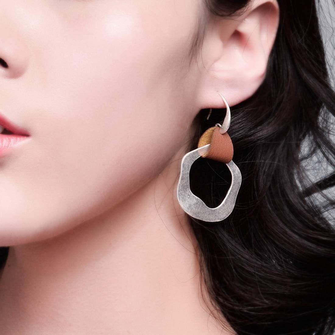 KaFu Women Hoop Earring Boho Geometry Drop Earrings Dangle Ear Piece for Girls Lightweight simple geometric earrings