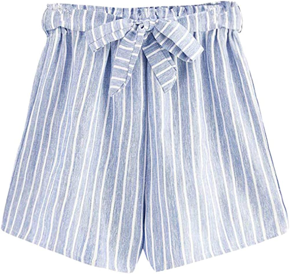 brandless Women's Summer Blue Striped Casual Shorts Personality Fashion Wild