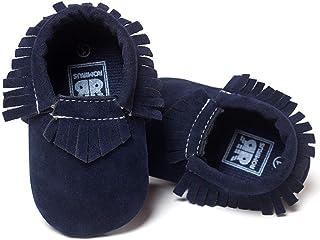 Meckior Infant Baby Girls Boys Premium Soft Sole Tassel Bowknot Moccasins Toddler Prewalker Princess Anti-Slip Crib Baptis...