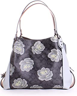 Coach Edie 31 Signature Rose Shoulder Bag in Charcoal/Sky