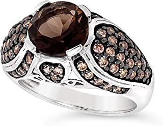 .925 Sterling Silver Round Smoky Quartz and Chocolate Brown Diamond Ring For Women 6/7 Carats