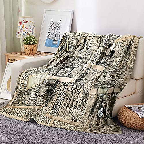 periódico Manta para Sofa 3D Pluma Reloj Reversible Manta Estampata Cálida y Suave Manta de Oficina Mantas sólida para Cama sofá 180x200cm