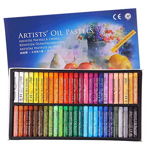 Juego de pintura al óleo profesional de colores pastel al óleo, para dibujar, grafiti, crayones artísticos lavables, redondos, no tóxicos, para artistas, niños, estudiantes, principiantes (50 colores)