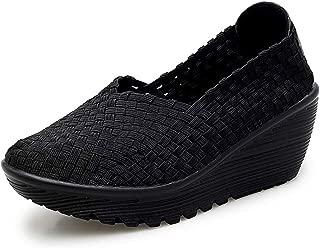 Women Wedge Mary Jane Sandals Closed Toe Weave Platform Heel Sandals Shoes
