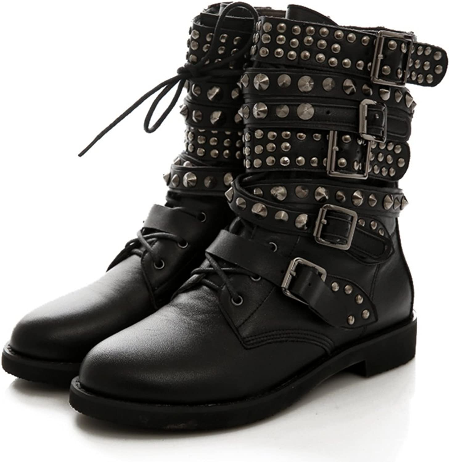 AIWEIYi Womens Rivets Round toe Buckles Flat Ankle Boots Black Booties