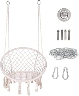 Hammock Chair Macrame Swing, Hanging Cotton Rope Macrame Hammock Swing Chair for Indoor, Outdoor Home, Patio, Porch, Deck,...
