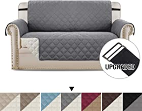 H.VERSAILTEX Loveseat Covers Loveseat Slipcover Reversible Quilted Furniture Protector with Elastic Straps Slip Resistant Furniture Cover for Kids, Dogs, Pets (Loveseat Large: Grey/Beige)