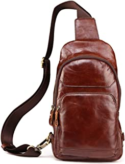 Large Capacity Messenger Handbag for Travel Outdoor Cycling Hiking Camping School Genuine Leather Chest Shoulder Bags for Men Cross Body Handbag Sturdy (Color : Photo Color)