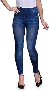 2ce0667dc1c4b Infispace Women's Lycra Rugged Denim Look Jeggings (SHAD33-143, Blue,  Medium)