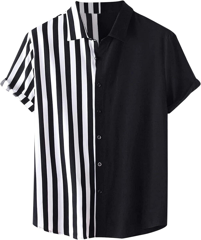 WoCoo Mens Summer T Shirts Short Sleeve Turn-Down Collar Striped Top Lightweight Button Pocket Tee Beach Holiday Party Shirt