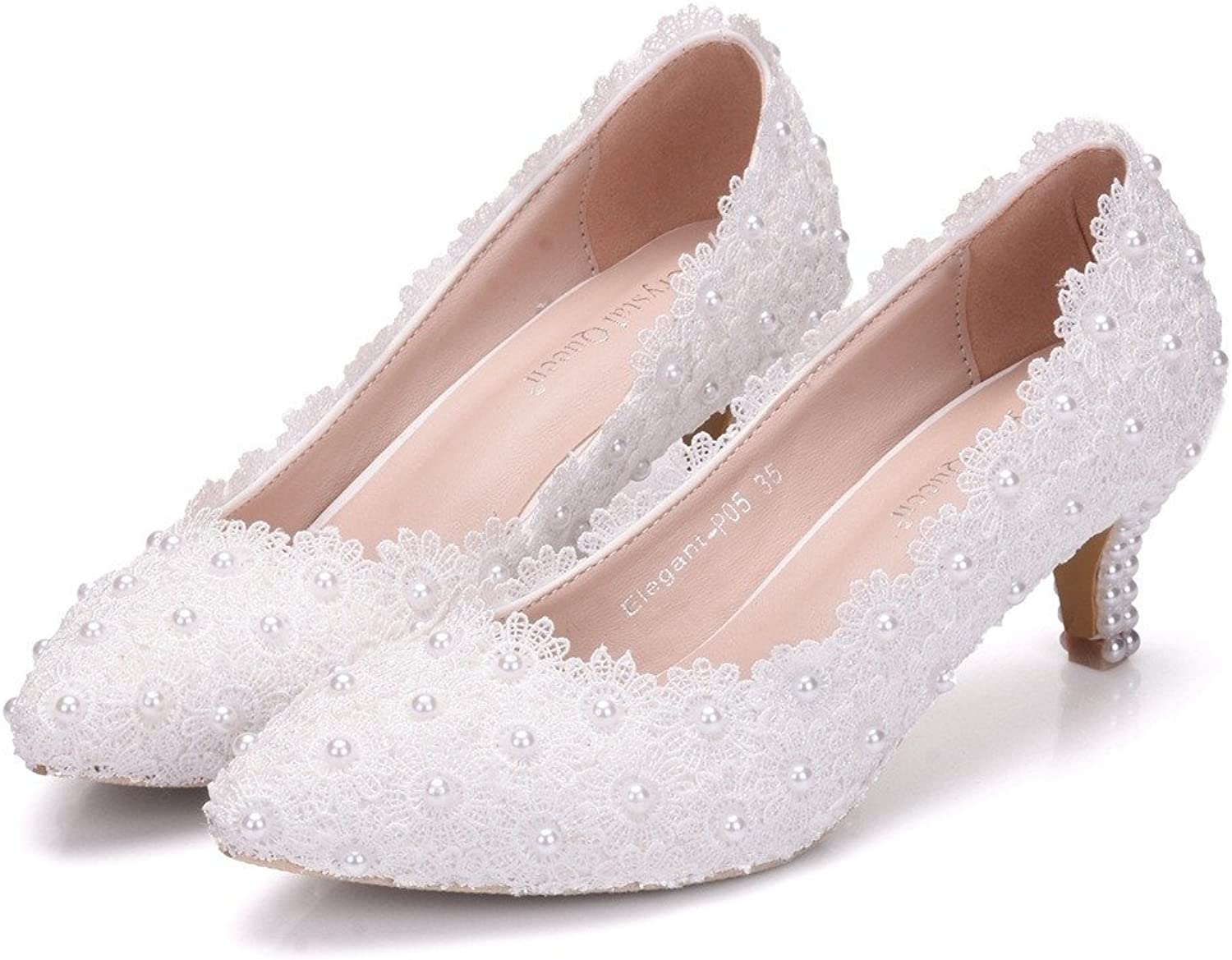 FORTUN Women's Fashion Low-Heeled shoes Pointed Toe shoes Pearl Lace Shallow Mouth