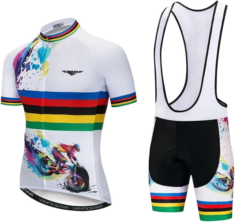 Weimomokey Men's Cycling Jersey Set Bike Shirts Short Sleeve MTB Bike Clothing Bicycle Wear