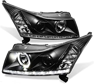 ACANII - For 2011-2016 Chevy Cruze LED Strip DRL Halo Black Housing Projector Headlights Headlamps, Driver & Passenger