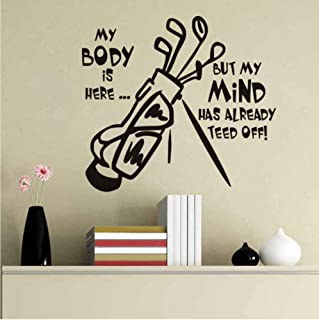 Wall Art Decals Stickers Wall Quote Golf Clubs Vinyl Wall Decal Sports Household Wall Decoration Living Room Bedroom Removable Wall Stickers DIY Art Mural Wallpaper, vertice