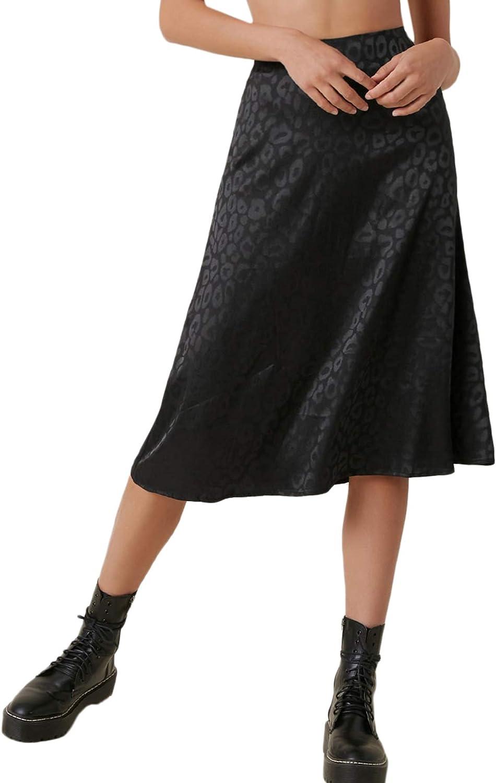 SOLY HUX Women's High Waist Silk Satin Flared A Line Midi Skirt