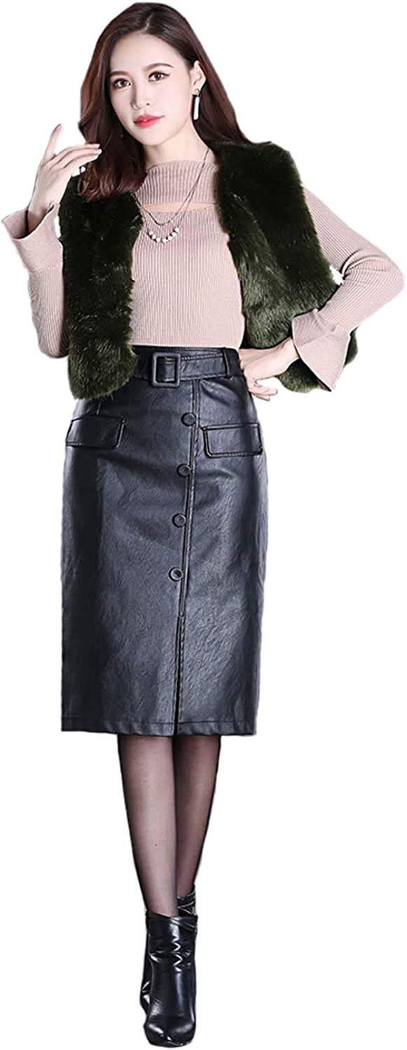 Women's PU Leather Skirt Female Long Section Skirts Girl high Waist Slim Bag Hip Large Size Over The Knee Step Button Front Slit
