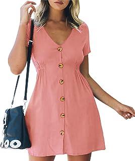 Amzbarley Women's Summer Casual Short Sleeve Dresses Button Wrap Down Swing Dress