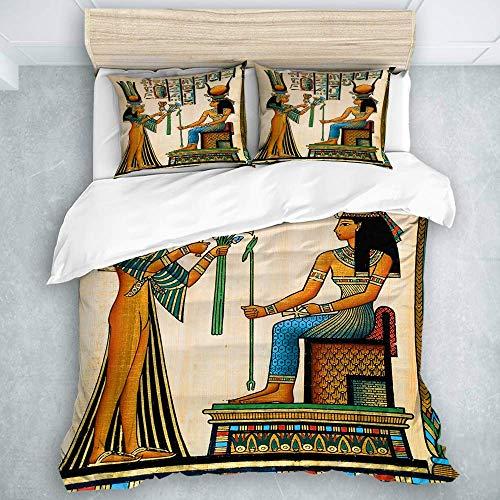 Juego de Funda nórdica, Antiguo papiro Egipcio Que representa a la Reina Nefertari con el Imperio histórico, Juego de Funda nórdica Suave de 3 Piezas