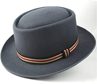 Pork Pie Hat Fedora Trilby Pork Pie Hat with Ribbon Jazz Hat for Men Women Gentleman Elegant Fedora Hat for Lady Size 58CM (Color : Gray, Size : 58)
