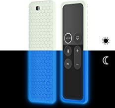 Remote Case Cover Skin Sleeve for Apple TV 4K 4th 5th Generation 64GB/32GB Remote-Newest Silicone Protective Case[Anti-Lost]Flexible Shockproof[Lightweight]Holder for Siri Remote Controller-Glowblue