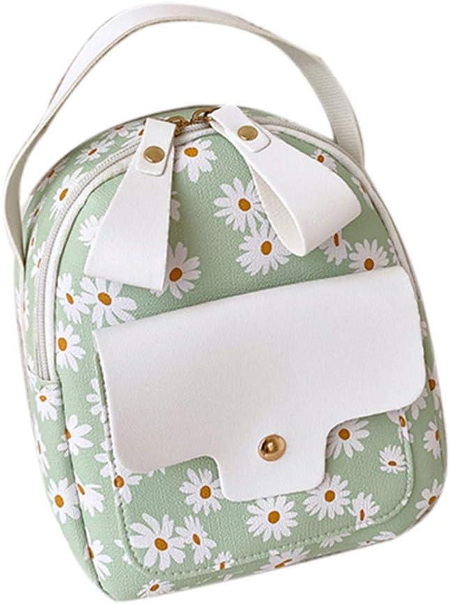 SONGBIRDTH Fashion Style Women Faux Leather Marguerite Print Mini Backpack Solid Color Ladies Crossbody Shoulder Bag Handbag Green