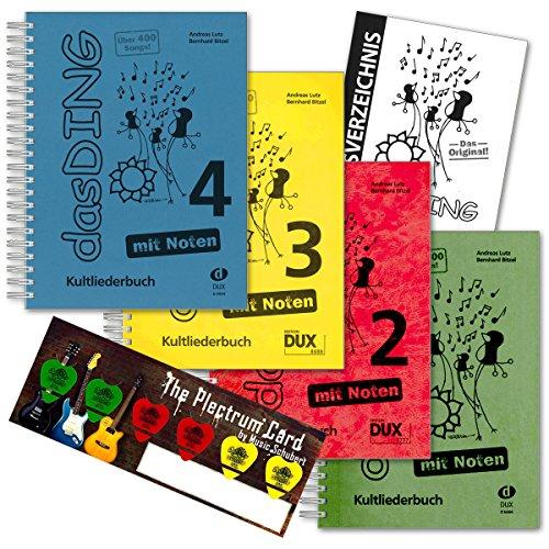 Musik-Schubert Das Ding 1+2+3+4 mit Noten - der ultimative Liederbuch - Super-Megapack !!! (über 1600 Songs) im Set Plektrum-Card© und extra Gesamt-Inhaltsverzeichnis - alphabetisch Sortiert