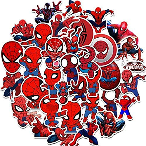 NvWang Sticker Decal Pack, Vinyl Stickers 35 stks Spiderman Vinyl Graffiti Stickers voor Laptop Auto Kids Boek Skateboard Moto Bike Bagage Bumper Snowboard Stickers Hippie