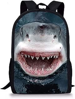 Kids Shoulder Bag School Bookbag Children Casual Backpacks Great White Shark Printed