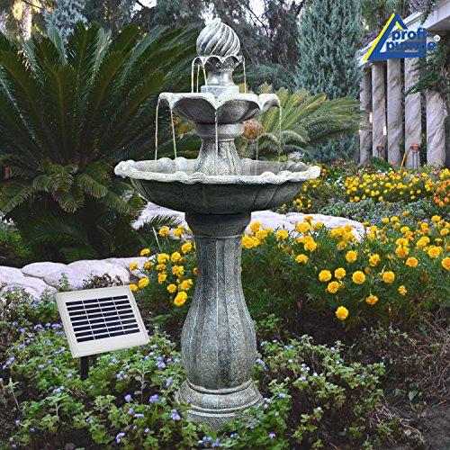 Fuente DE Agua Solar - Fuente Solar - Fuente para JARDÍN - Fuente Solar Decorativa - Elegante Fuente para el Jardin para terraza, con batería Li-Ion y luz LED