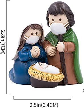 Nativity Sets for Christmas Indoor Holy Family Figuriner Decoration and Display on Mantel or Window Sill