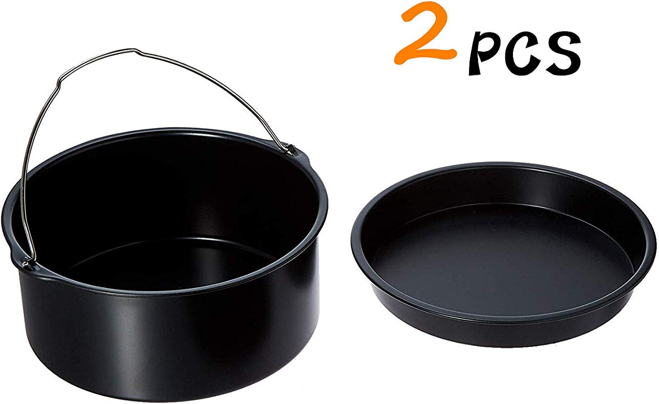 2 Pcs Air Fryer Accessories For 3 2QT 4 2QT Ninja Gourmia Cosori Phillips Gowise With 7 Inch Cake Barrel Pizza Pan Black Round